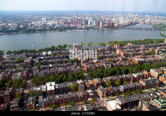 Boston Massachusetts Prudential Center Skywalk Observatory aerial panoramic view Back Bay Charles River Basin East - Stock Image