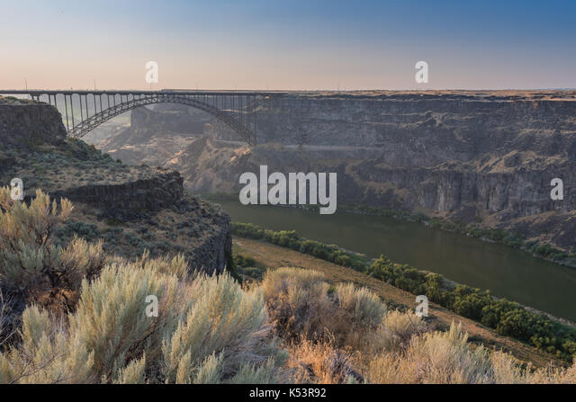 Perrine Bridge Spans The Canyon Above The Snake River just before sunset - Stock Image