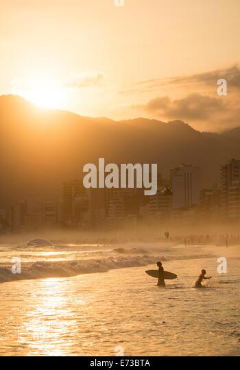 Ipanema Beach at sunset, Rio de Janeiro, Brazil, South America - Stock Image