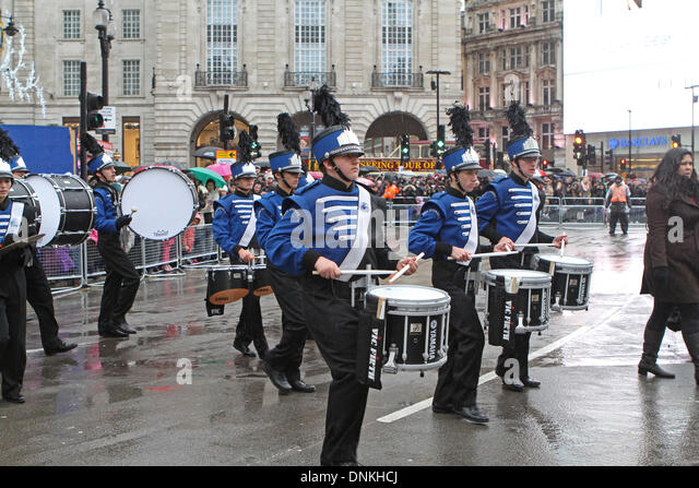 London,UK,1st January 2014,J.P Taravella high school from Florida playing at the London's New Year's Day - Stock Image