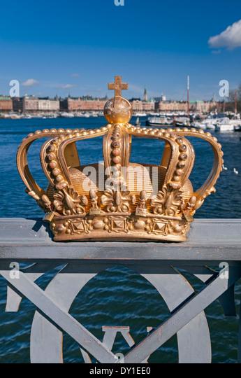 Stockholm Harbour Crown on bridge Sweden - Stock Image