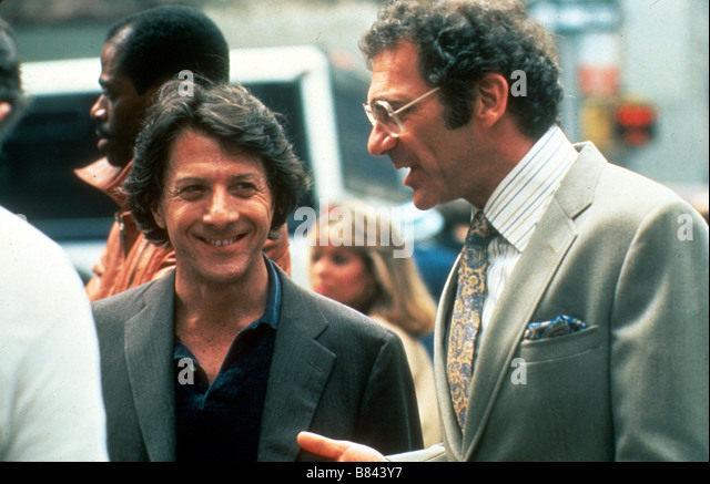 Sidney Pollack Sidney Pollack Sidney Pollack Dustin Hoffman on the set of Tournage Tootsie Année 1982 USA - Stock Image