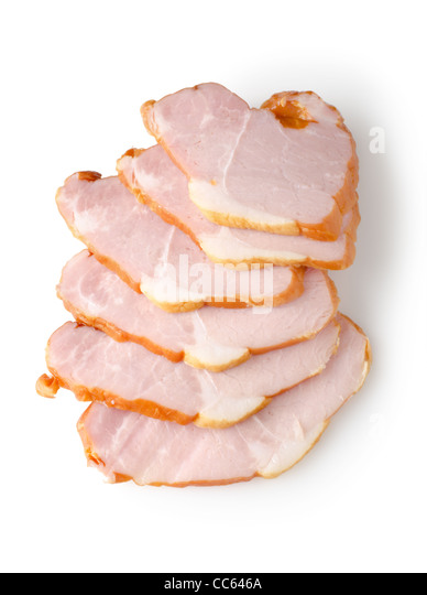 Sliced ham isolated on a white background - Stock Image