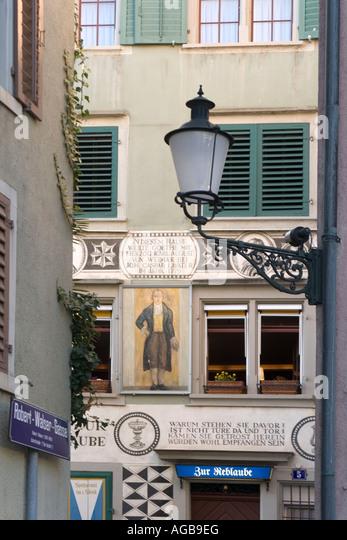Switzerland Zurich Zur Reblaube in historic building in old city center - Stock Image