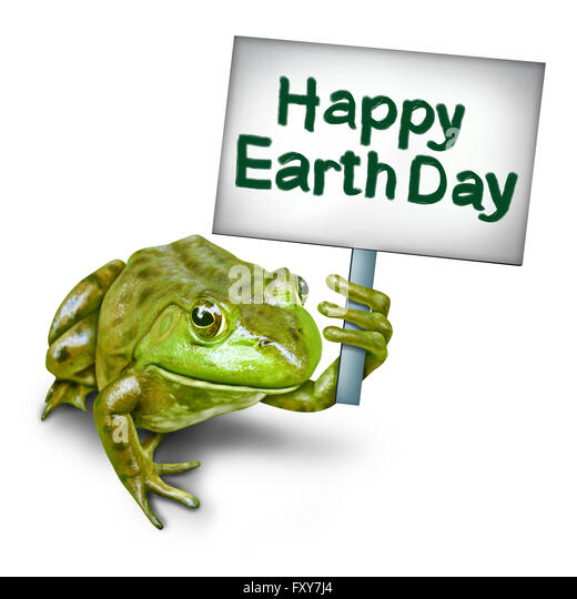 Earth day frog holding a sign in protest as an ecxological concept as a group of frogs coming together to form text - Stock Image