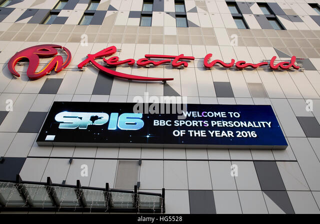 The Genting Resorts World centre, NEC,with signage for the BBC Sports Personality Of The Year awards - Stock-Bilder