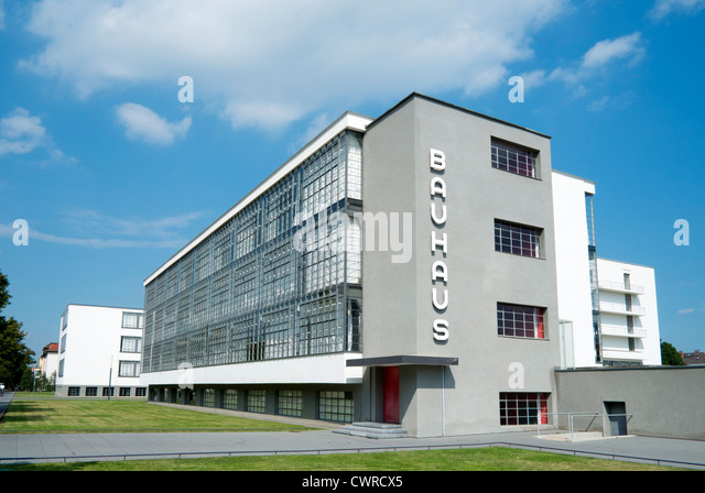 Bauhaus Building and architecture school designed by Walter Gropius in Dessau Germany - Stock Image