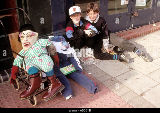 Young boys nearing Guy Fawkes Day asking for pennies for the Guy - Stock Image