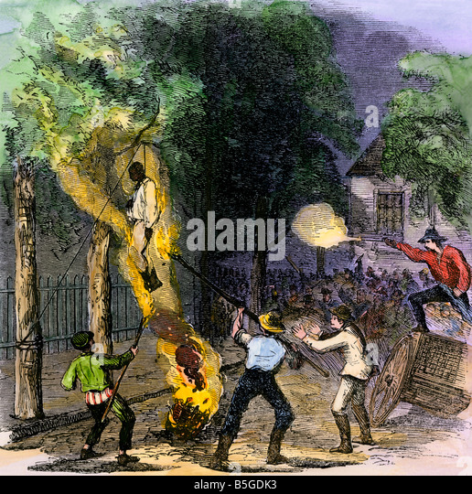 Hanging a black man on Clarkson Street during the New York draft riots 1863 - Stock Image