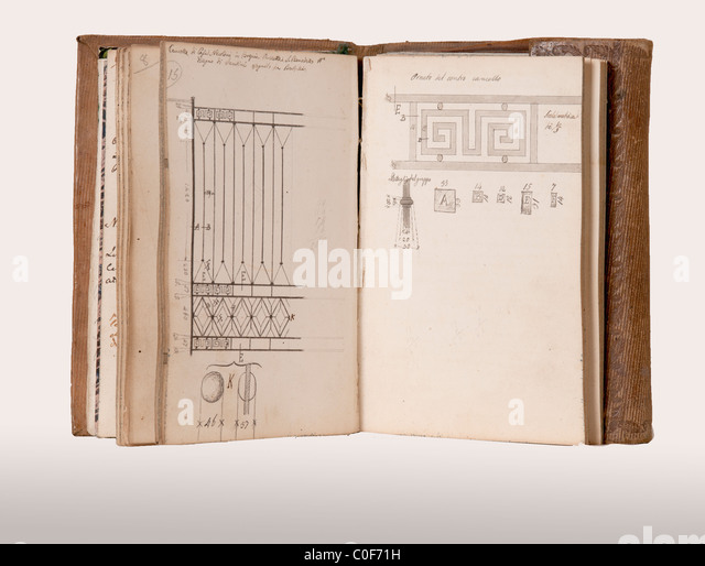old notebook of drawings early twentieth century - Stock Image