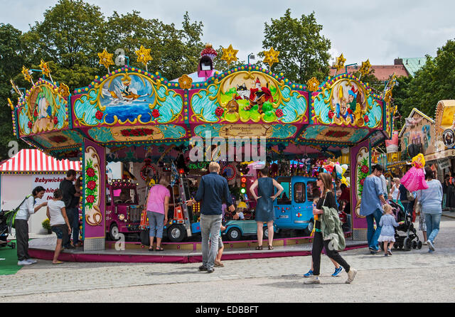 Nostalgic children's carousel, Auer Dult, Munich, Upper Bavaria, Bavaria, Germany - Stock Image