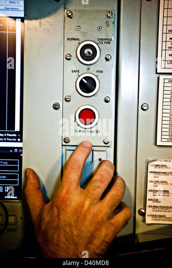 Hand and control buttons on Nuclear Submarine HMS Talent - Stock Image