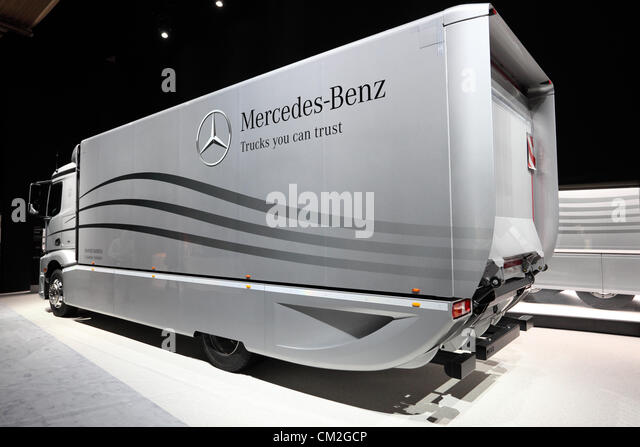 New Mercedes Benz Aerodynamics Truck at the International Motor Show for Commercial Vehicles - Stock Image