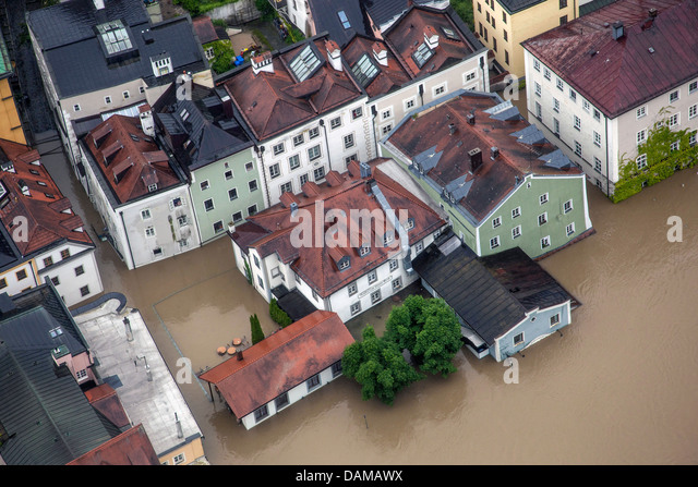 old city flooded in June 2013, Germany, Bavaria, Passau - Stock Image
