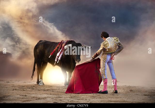 Bullfighter holding red cape with bull, Las Ventas bullring, Madrid - Stock Image