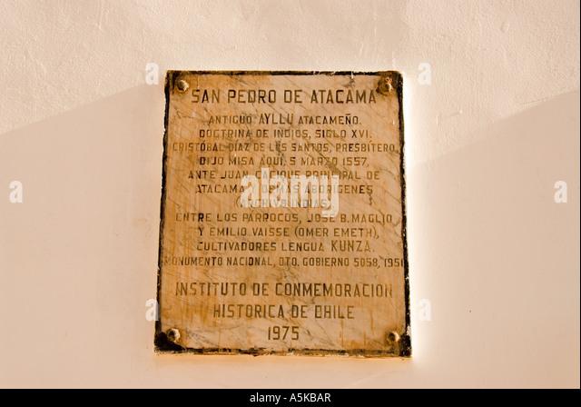 Chile San Pedro de Atacama historical marker in Spanish - Stock Image