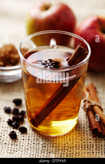hot apple punch with cinnamon - Stock Image
