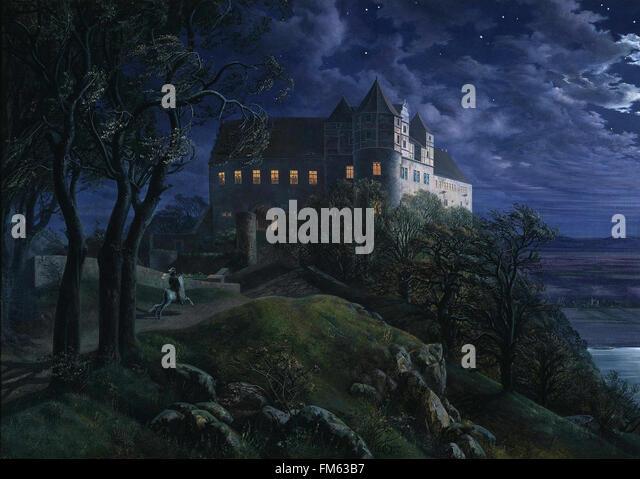 Ernst Ferdinand Oehme - Burg Scharfenberg bei Nacht - Stock Image