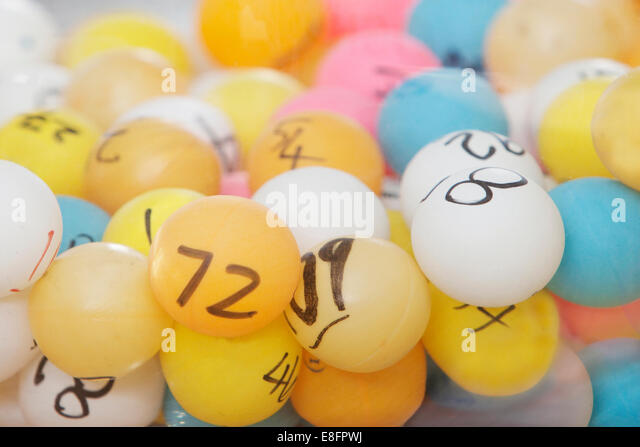 CLose-up of multi-colored lottery balls - Stock Image