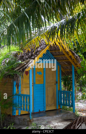 Colourful hut, Saona Island, Dominican Republic, West Indies, Caribbean, Central America - Stock Image