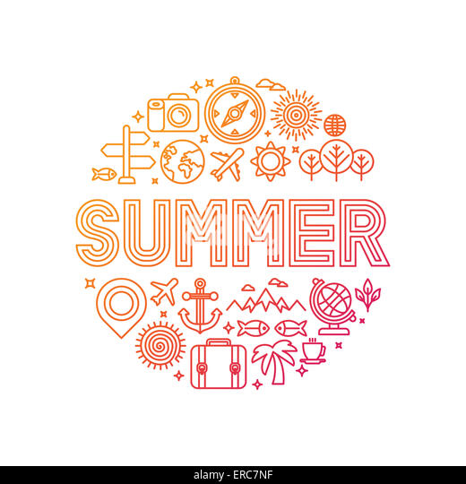 Summer lettering with linear icons and signs - travel and vacation concept - Stock-Bilder