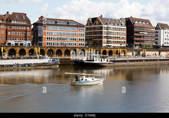 Yacht on the River Wesser at Bremen - Stock Image