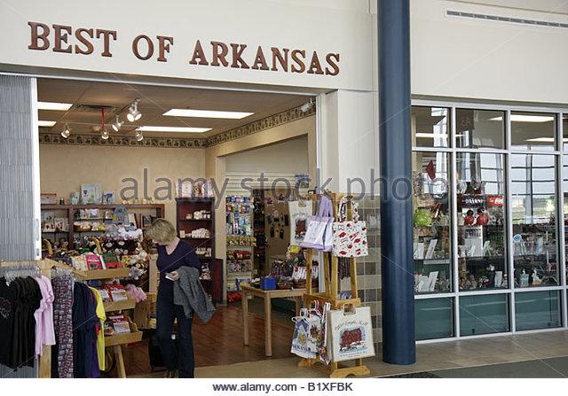 Arkansas Bentonville Northwest Arkansas Regional Airport XNA Best of Arkansas shopping gifts souvenirs gate area - Stock Image