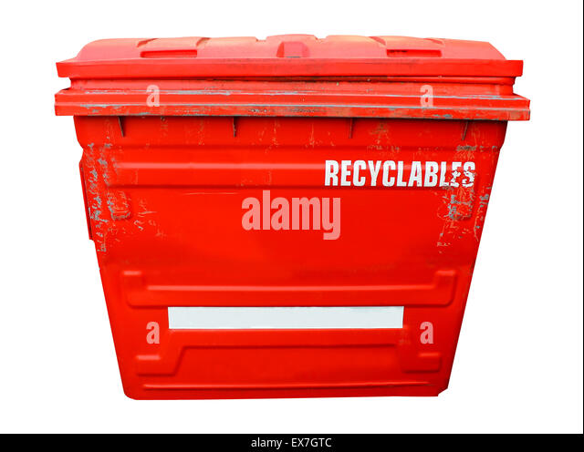 Red industrial recycling bin on a white background. - Stock Image