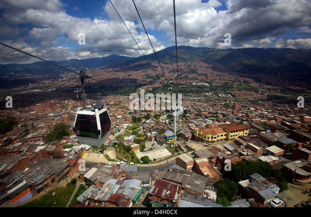 View over the Barrios Pobre of Medellin, where Pablo Escobar had many supporters, Colombia, South America - Stock Image