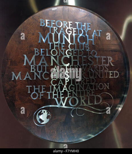 MUFC,Munich memorial,Old Trafford, Manchester United,England,UK. 'Before the Tragedy at Munich, the club belonged - Stock Image