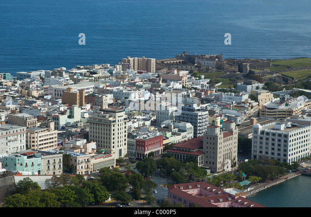Aerial of old city of San Juan, Puerto Rico. - Stock Image
