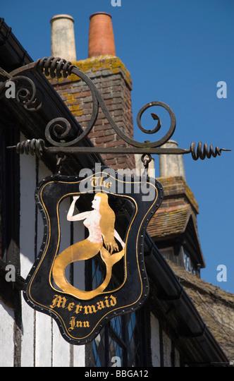 Rye, E Sussex, England, UK. Mermaid inn sign in Mermaid Street - Stock Image