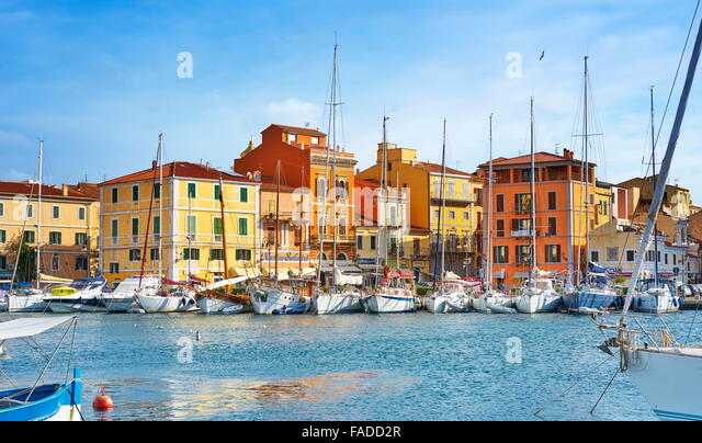 La Maddalena, view of the town and harbor,  La Maddalena Island, La Maddalena Archipelago, Sardinia, Italy - Stock-Bilder