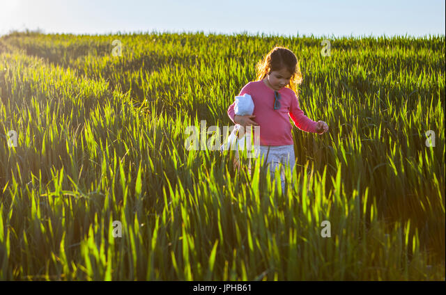 Little girl and her doll walking through green cereal field at sunset, Spain - Stock Image