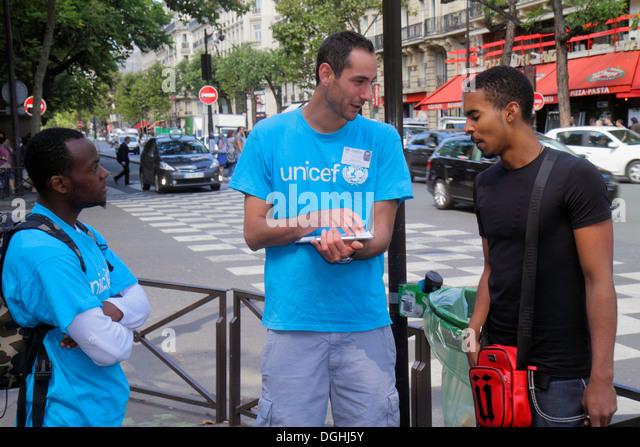 Paris France Europe French 5th arrondissement Latin Quarter Rive Gauche Left Bank Boulevard Saint-Germain taking - Stock Image