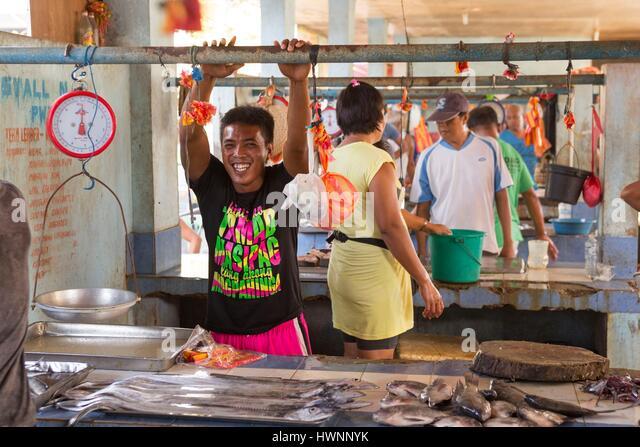 Philippines, Luzon, Sorsogon Province, Donsol, life scene at fish market - Stock-Bilder