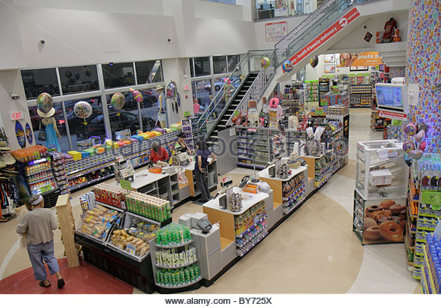 Miami Beach Florida Walgreens overhead view checkout counter retail display - Stock Image