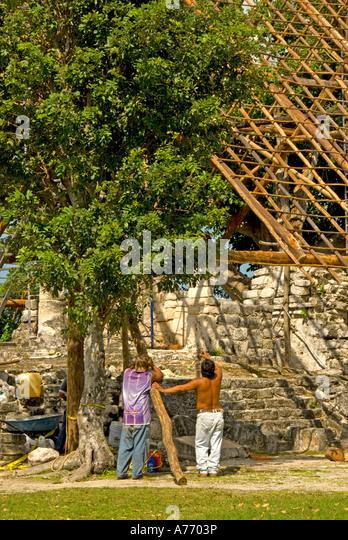 Mexico Cozumel San Gervasio Mayan ruins site restoration - Stock Image