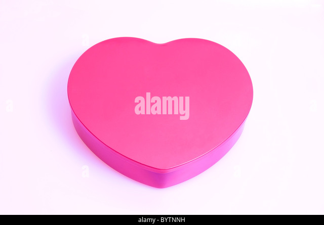 Pink love heart box, closed, illustration, silo on white background - Stock Image