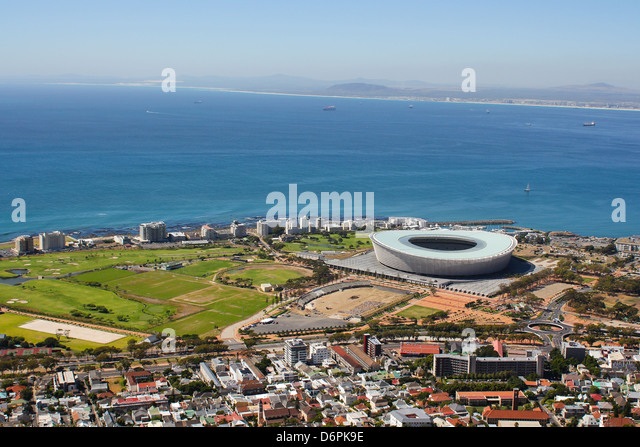 View of Mouille Point with the cape town Stadium from Signal Hill - Stock Image