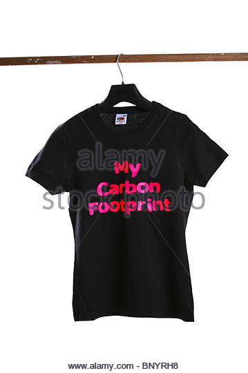 Black T-Shirt with slogan on white background - My Carbon Footprint - Stock Image