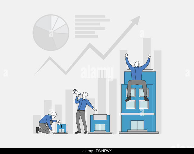 Multiple Image of businessman growth process in business profits - Stock Image