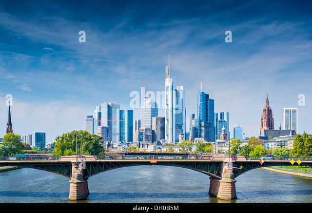 Skyline of Frankfurt, Germany, the financial center of the country. - Stock Image