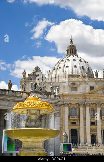 Water fountain and Saint Peter's Basilica, Saint Peter's Square. Vatican. Rome Italy. - Stock Image