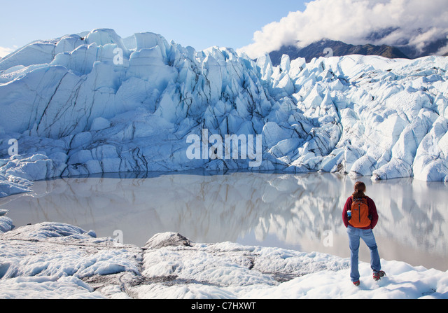A climber on the Matanuska Glacier, Alaska. - Stock-Bilder