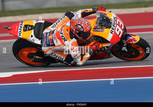 Austin, Texas, USA. 08th Apr, 2016. Marc Marquez of Spain and Repsol Honda Team rounds the bend during the MotoGp - Stock-Bilder