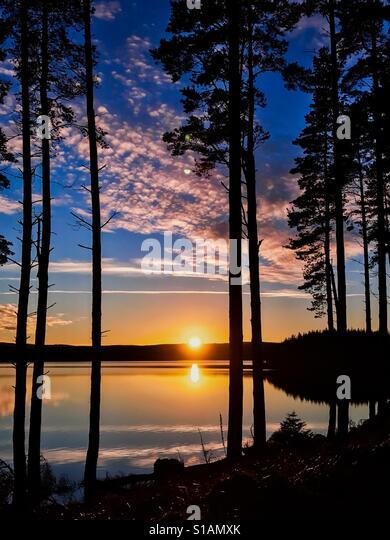 Sunset at Kielder Water and Forest, Northumberland Park, England - Stock-Bilder