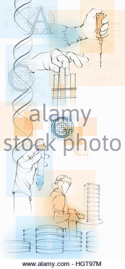 Montage of scientists and genetic research - Stock-Bilder