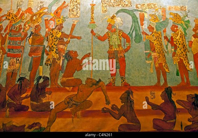 Mural depicting Mayan mythology at Antigua's Casa Santa Domingo Convent is replica of Bonampak mural - Stock Image