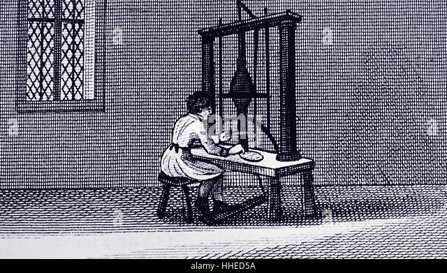 Cottage industry; Making pins: Gloucester, England 1823 - Stock-Bilder